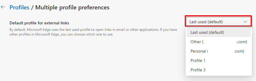 choose a profile for opening external links in the new Edge browser