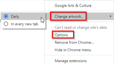 right-click Google Arts & Culture add-on to change artwork display settings