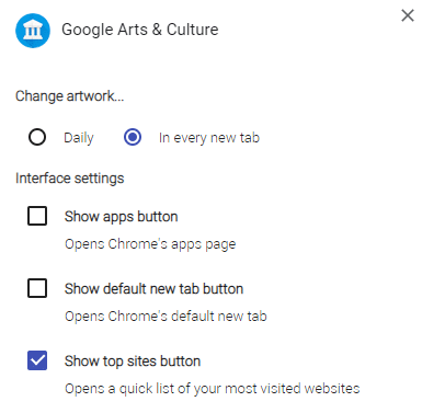 change interface and artwork display settings through options in Google Arts & Culture add-on