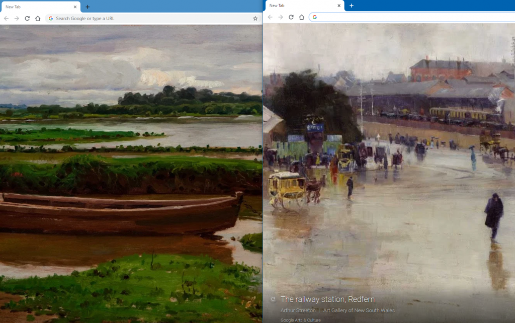 new Chrome tabs with different artworks provided by Google Arts & Culture Chrome add-on
