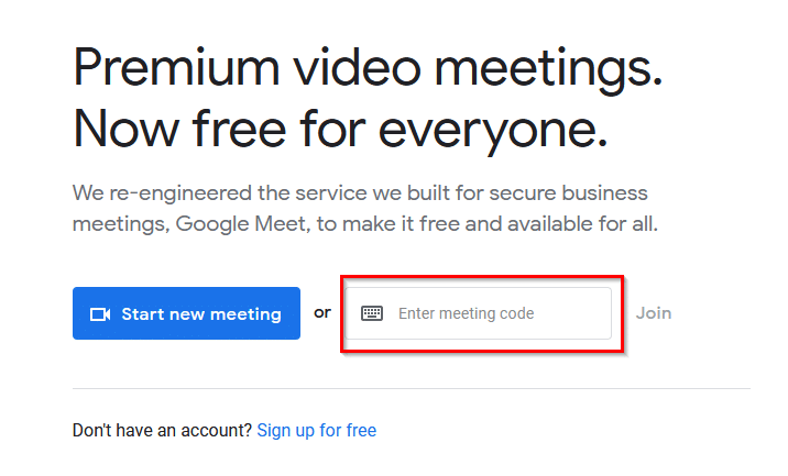 joining a meeting from the Google Meet homepage