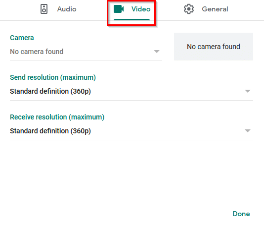configuring video devices for meeting in Google Meet