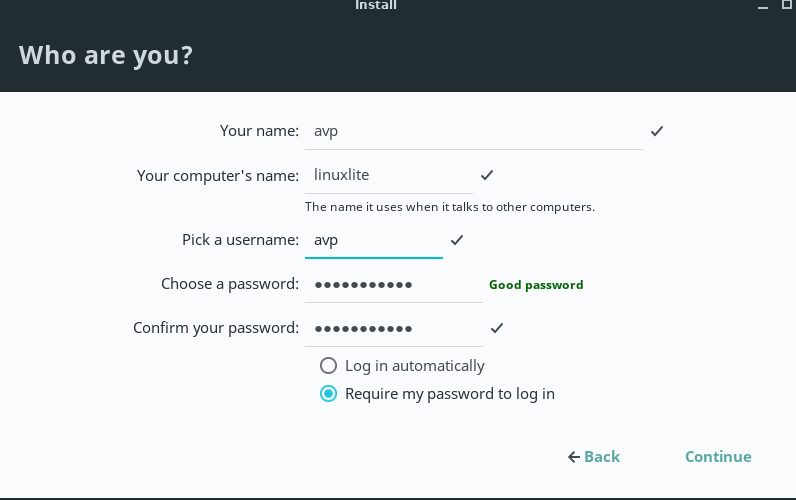 choosing a user name and password during Linux Lite installation