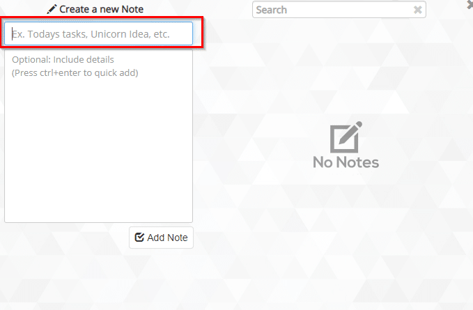 adding notes using Leaf: Simple Notes in Google Chrome