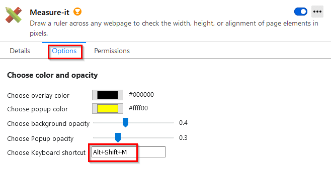 customizing Measure-it options in Firefox