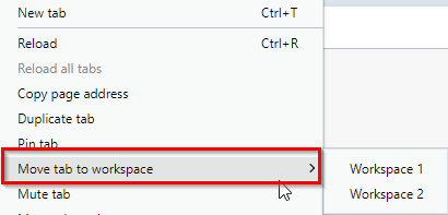 moving tabs in Opera browser between different workspaces