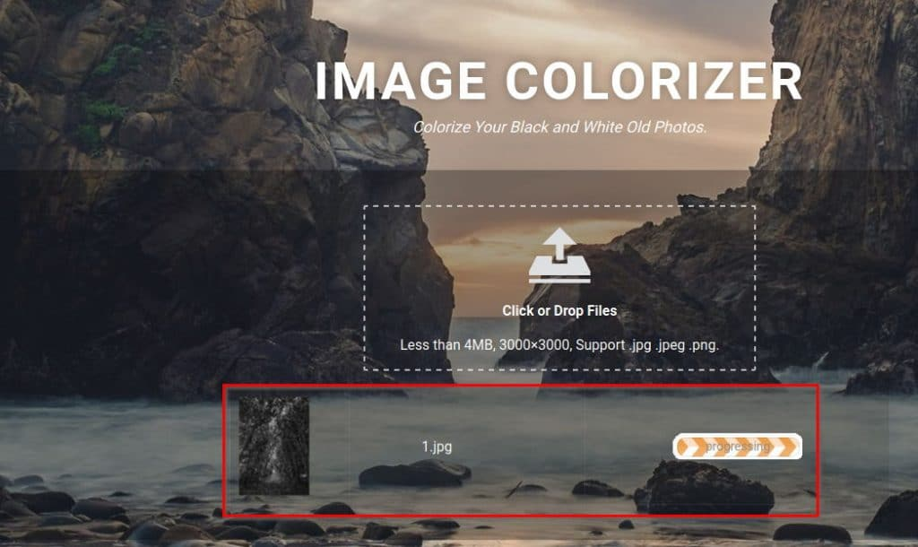 Image Colorizer processing the uploaded black and white image