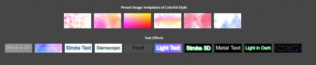 choosing preset image templates and text effects in Background Generator desktop version