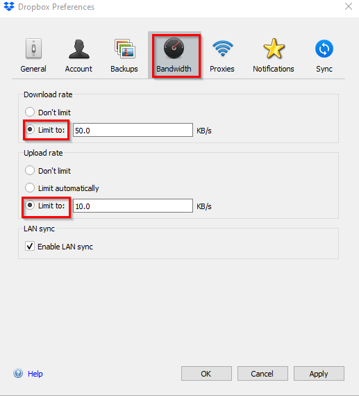 changing bandwidth settings for Dropbox in Windows