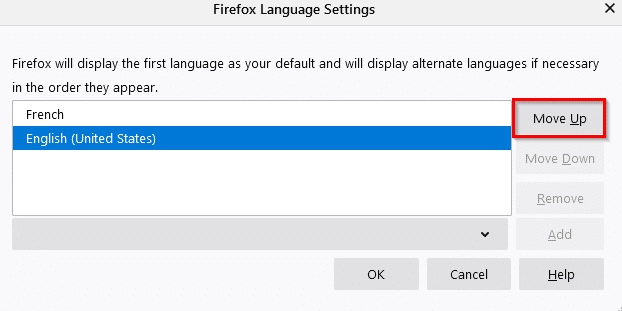 changing the order of added languages in Firefox