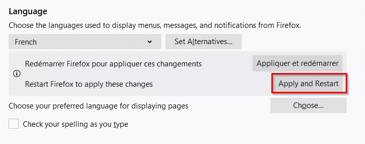 restarting Firefox to apply the language changes