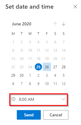 choosing a date and time for sending emails from Outlook.com