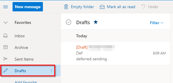 scheduled send messages are in Drafts folder in Outlook.com