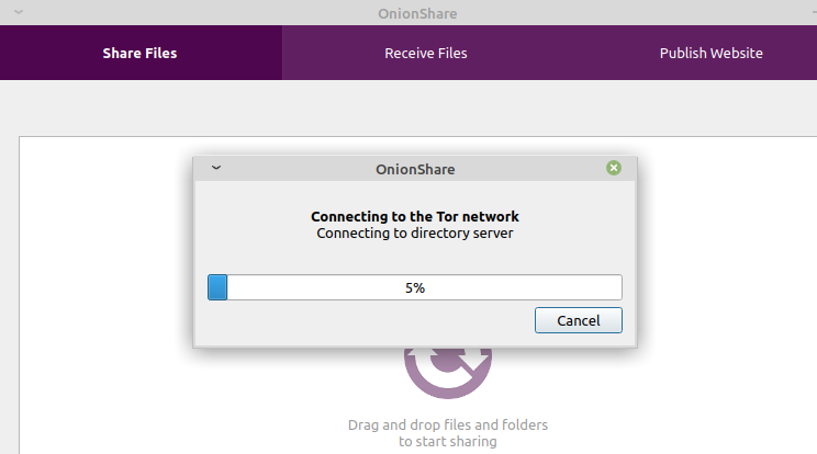 running OnionShare in Linux Mint