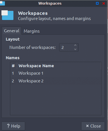 adding workspaces in Peppermint