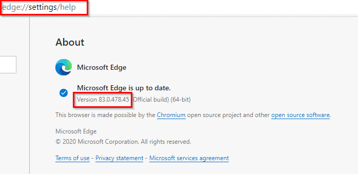 checking version info of the new Edge browser