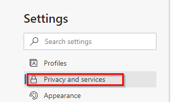 Privacy and services section of the Edge browser