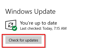 manually checking for Windows 10 updates