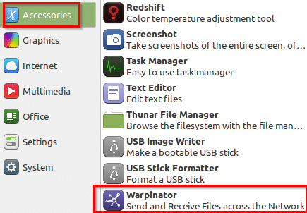 accessing Warpinator in Linux Mint 20 Xfce edition