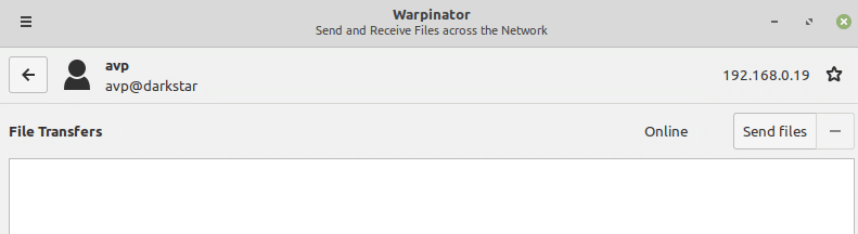 file transfer in Warpinator