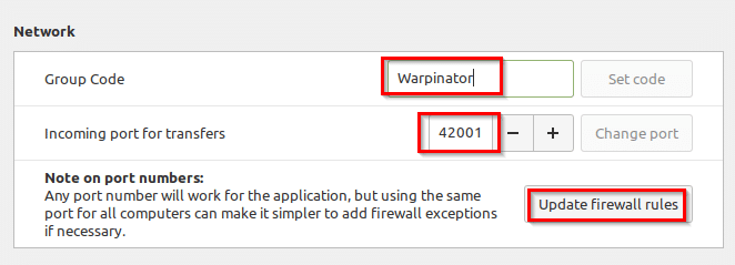 changing network preferences in Warpinator