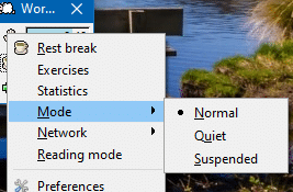 enable different modes in Workrave