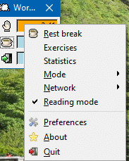 enable reading mode in Workrave