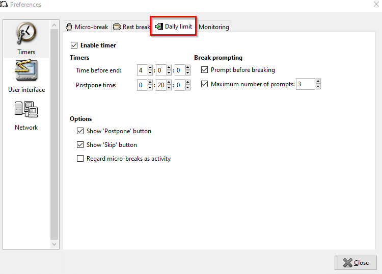 configuring daily limit usage in Workrave