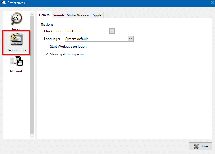 configuring user interface settings in Workrave