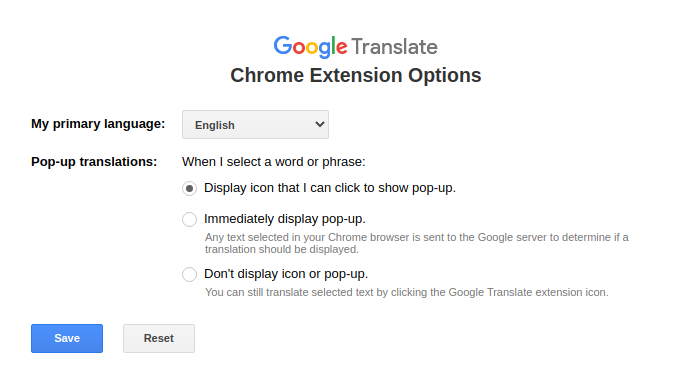 configuring Google Translate add-on options in Chrome