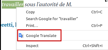 Google Translate option when selecting text in Chrome