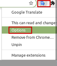 accessing Google Translate add-on options in Chrome