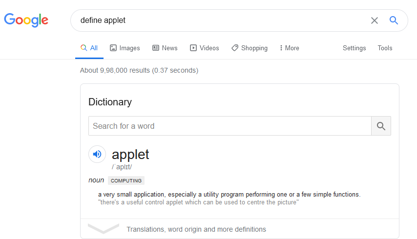 meaning of selected word displayed in Google search using Dictionary Anywhere add-on