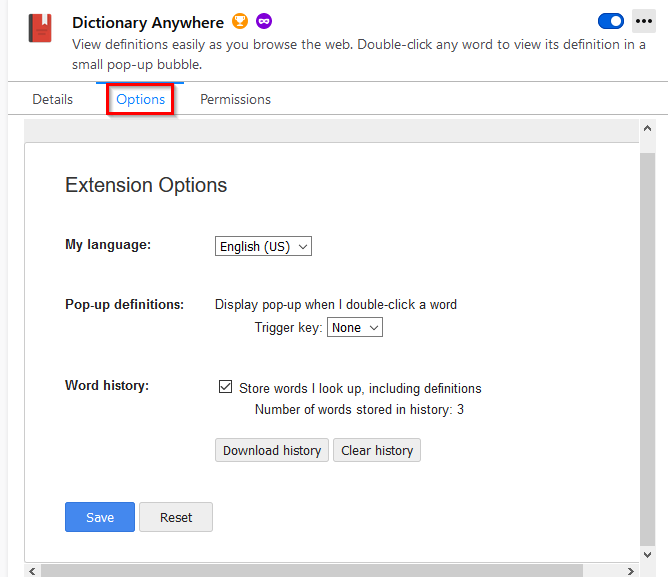 Dictionary Anywhere add-on options