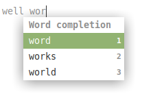 possible auto-completion entries for words in xed text editor