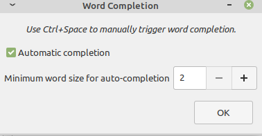 changing preferences for the word completion plugin for xed text editor