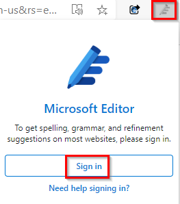 sign-in to Microsoft Editor