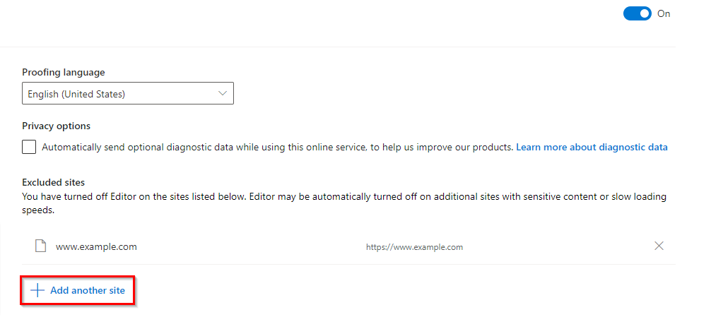 adding website exclusions to Microsoft Editor