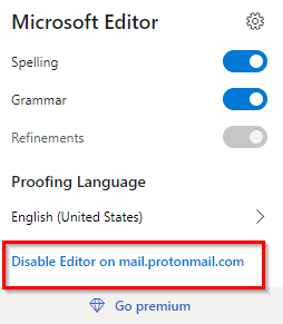 disabling Microsoft Editor on pages