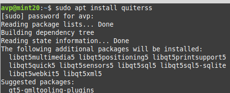 installing QuiteRSS in Linux Mint