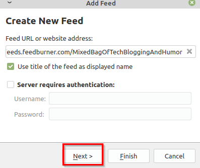 copy-pasting the feed url in QuiteRSS
