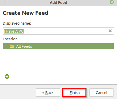 Feed added successfully in QuiteRSS