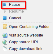 pausing and resuming downloads in Download Manager (S3)