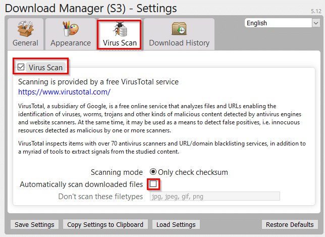 using VirusTotal for online scanning of downloaded files using Download Manager (S3)