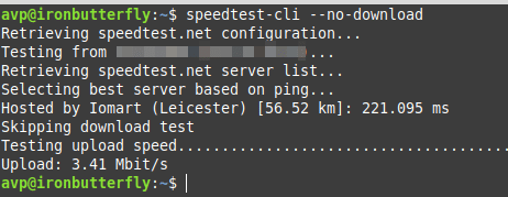 testing only the upload speed using speedtest-cli