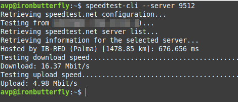 testing with a specific server id using speedtest-cli