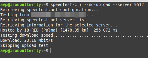 using speedtest-cli to exclude upload or download test using specific testing servers