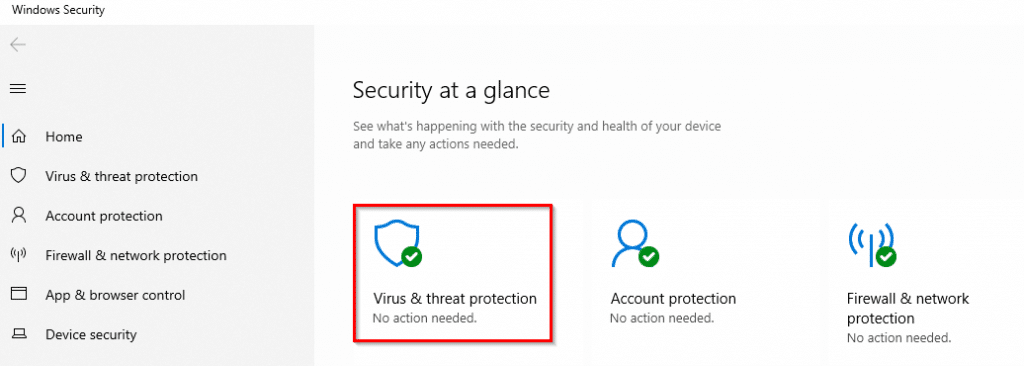 configuring virus and threat protection settings in windows 10