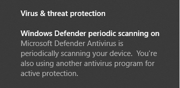 windows defender periodic scanning enabled along with other anti-virus product