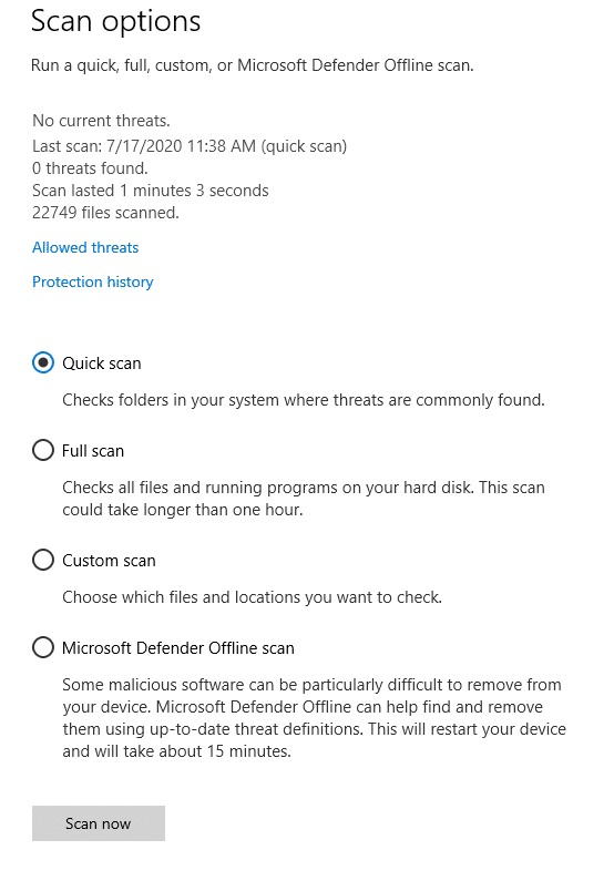 different scan options for microsoft defender